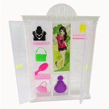 Doll Bedroom Furniture Closet Wardrobe + 6 Cute Plastic Doll Dress Accessories For Barbie Dolls Girl Gift Kid Play House Toys