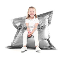Cover only No Filler - Silver color children bean bag pillow cushion chair, waterproof sofa beds - 40inch x 52 inch(China)