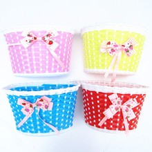 5 Colors Girls Bike Front Basket Children Bicycle Cycle Flowery Shopping Stabilizers Bowknot Scooter Basket Handlebar Bag