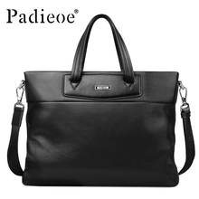 Padieoe Luxury Business Briefcase Male Genuine Leather Briefcase Men Designer Shoulder Bags For Laptop Male Portfolio Bags Black(China)