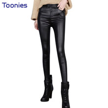 2017 Autumn Skinny PU Leather Pants Legging Women Trousers Plus Size Slim Stretch Thin Black Faux Leather Pencil Pants Pantalone(China)