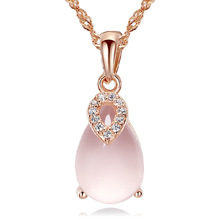 New Fashion Crystal Angel Teardrop Necklaces & Pendants For Women Natural Stone Quartz Gold Filled Chain Necklace Colier 2016