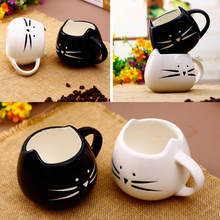 Cat Coffee Milk Cup Light Ceramic Lovers Mug Couples Cups Festival Fashion 420ml Lovely Gift    J2Y