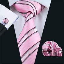 FA-295 Gents Necktie Pink Stripe 100% Silk Jacquard Tie Hanky Cufflinks Set Business Wedding Party Ties For Men Free Shipping(China)