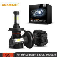Auxmart S5 H4 LED Car Headlight 6500K 8000LM Driving Headlamp Dipped High beam Front Bulb All-in-One Fog lamps 12v 24v 9003 HB2
