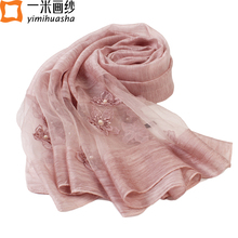 women scarf 2017 new design flowers embroidery shawls with beads elegant ladies solid soft cachecol feminino marca de lujo(China)