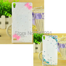 Pink butterfly festival pearl diamond blue dragonfly white plastic mobile phone protection drill shell Case for Huawei Ascend P6