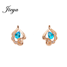 Classic Statement 585 Gold Earrings With A Blue Stone Pendientes Women Jewelry Chandelier Flowers Design 2017 Blue Drop Earrings