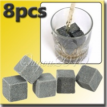 Best Promotion New 8PCS/lot Whiskey Scotch Soapstone Ice Cube Stone Rocks for Drinking Wine Bar Home