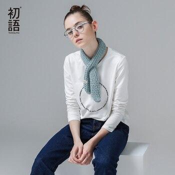 Toyouth 2017 Otoño y el Invierno de La Camiseta de Algodón Del O-cuello Sólido de Manga Larga Delgada Ocasional