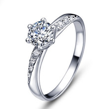 Free shipping hot sell fashion 30% percent silver plated & shiny zircon female finger rings jewellery wholesale(China)