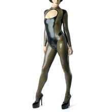 Buy Patchwork Color Latex Catsuit Back zipped Sexy Rubber Jumpsuit Leotard Latex Women's Wear (NO GLOVES)