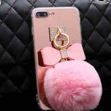 Luxury Plush Rabbit Diamond Fluffy ball Bowknot Mirror phone case for iPhone 7 Case For iphone7 6 6s Plus Phone Cases Back Cover