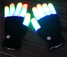 New Fashion LED Flash Pure Cotton Gloves Black White Fingers Colorful Light Cotton Halloween Party Decoration Mittens(China)