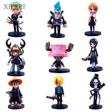 XIESPT Anime Cartoon One Piece PVC Figure Toys Luffy 2 Years Later Model Doll Q style 64th 9pcs/set Free Shipping