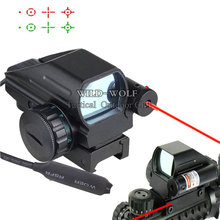 Tactical Holographic Reflex 4 Reticles Red/Green Dot Sight Scope w/Red Laser Sight Hunting Airsoft RifleScope Fr 20mm Rail Sight