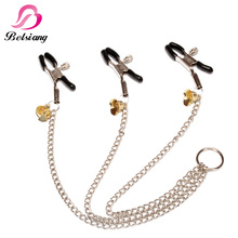 Buy Belsiang Breast Nipple Clamps Labia Bell Women Nipple Clamps Clips Female Chain Stainless Bdsm Bondage Sex Toys Couples