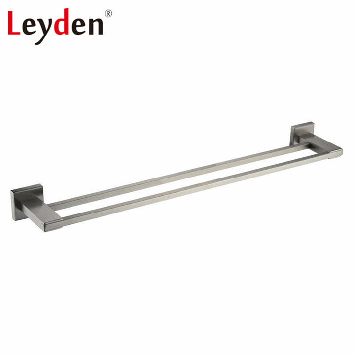 Leyden Premium Brushed Nickel SUS 304 Stainless Steel Double Towel Bar Holder Wall Mounted Square Base Bathroom Accessories<br>