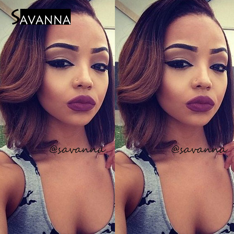 Short #1b/#30 Ombre Human Hair Full Lace Wigs Brazilian Virgin Hair Front Lace Wigs 150% Glueless Full Lace Human Hair Wigs<br><br>Aliexpress