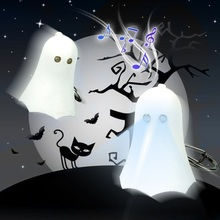 FREE SHIPPING BY DHL 200pcs/lot Plastic LED  Spirit Ghost Keychains with Sound Novelty Toy Keyrings for Kids