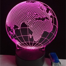 Hot 3D USB LED Globe Night Light 7Colors Changing Christmas Mood Lamp Touch Button Kids Living Bedroom Table Desk Lighting