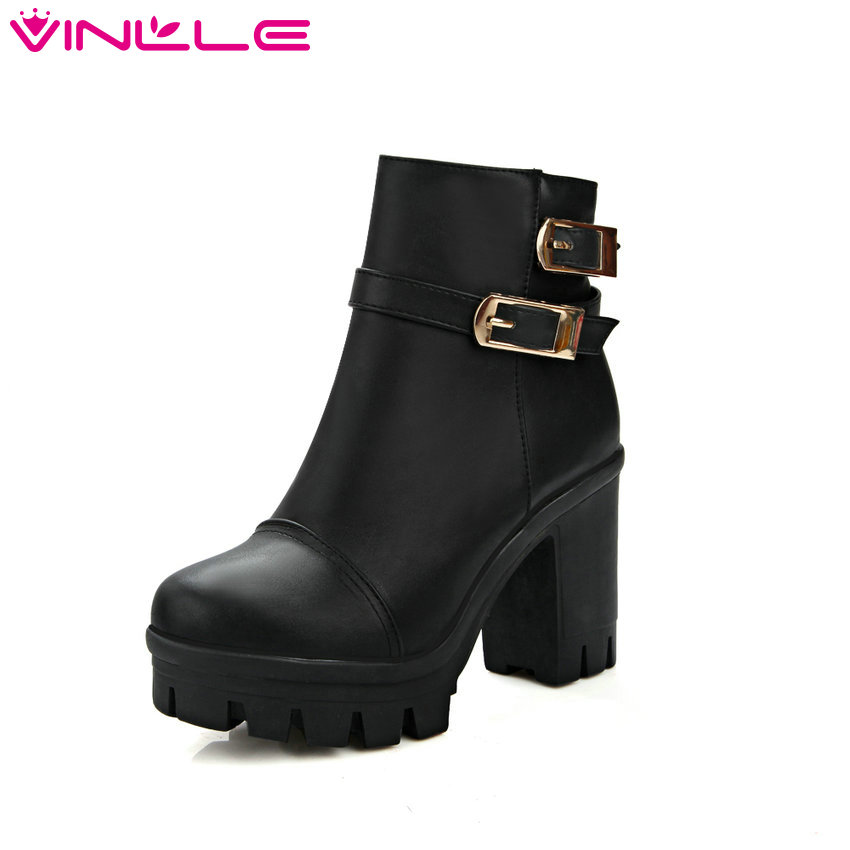 VINLLE 2016 Women Winter Buckle Punk Shoes Autumn PU Leather Square High Heel Ankle Boots Women Fashion Platform Boot Size 34-43<br>