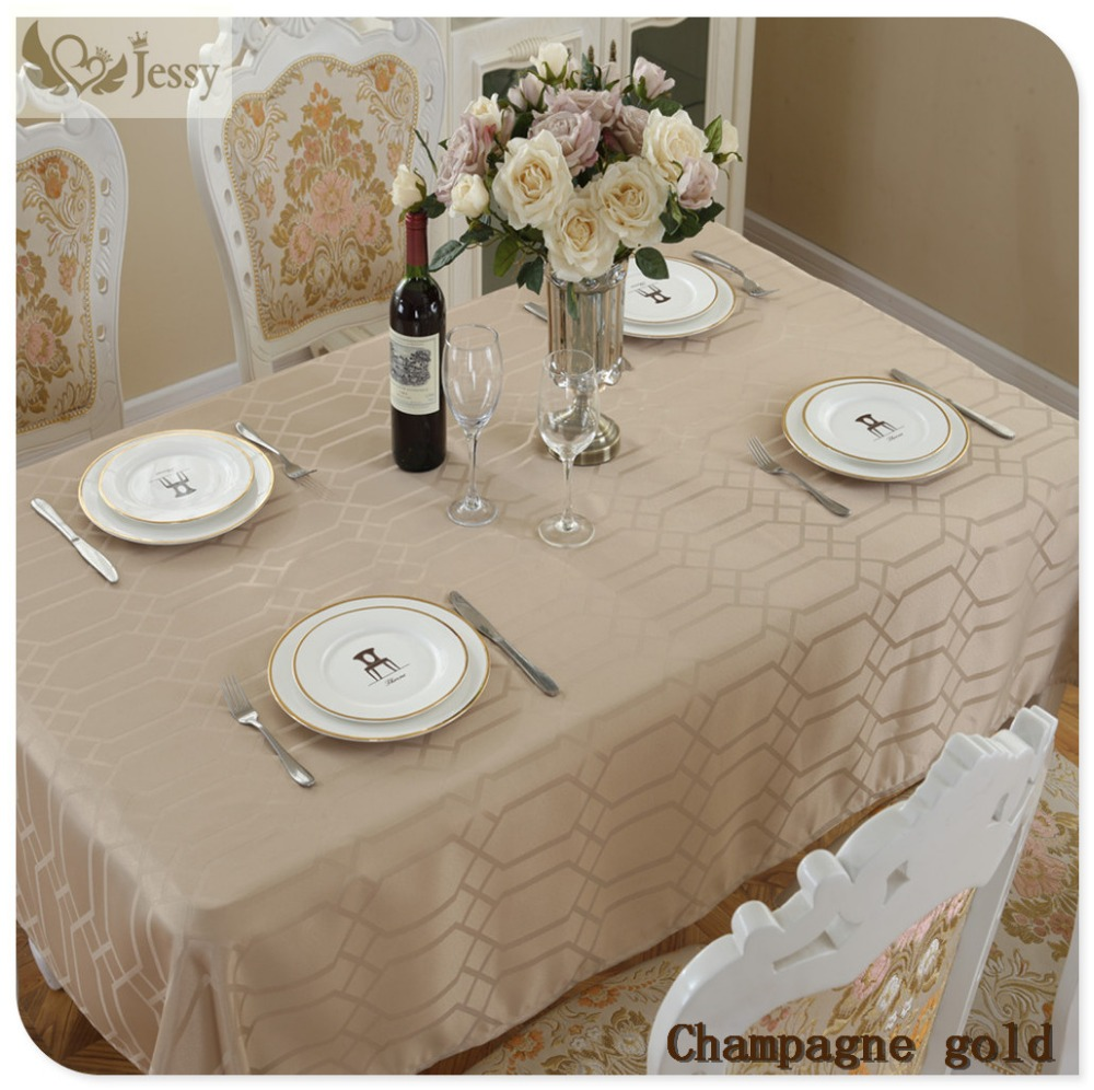 Champagne Gold Decorative Elegant Table Cloth Linens for Home Hotel Party Picnic Dining-table Tablecloths Table Covers(China)
