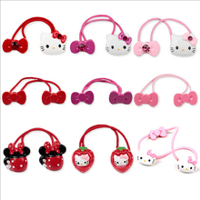 New Arrival styling tool hello kitty bow Elastic Hair Bands accessories make you Beautiful used by women young girl and children