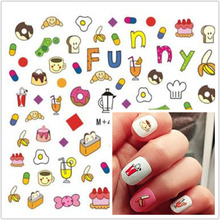1 sheet 6.8X7CM Cute Food Water Transfer Nail Art Sticker Beautiuful Tattoo Decals makeup your nail(China)