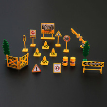 Road Signs Toys 18pcs/pack Traffic Signage Model Engineering Road Signs DIY Mini Signpost Traffic Scene Educational Toys