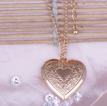 Fashion Souvenir photo locket for women Flower heart pendant 18k real gold plated necklace jewelry Valentine's Day gift LM-N207