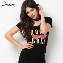 Buy CWLSP Women Rock T Shirt Back Sexy Deep V Neck Halter Rock Music Series Hollow Fashion Tees t-shirt tops women 2017 QA1493