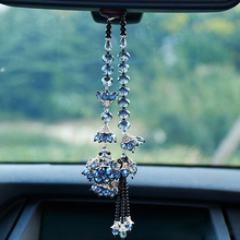 Bauhinia Flower Crafts Crystal Hanging Ornaments Car Rearview Mirror DIY Home Decor Car Interior Styling Pendant Accessories(China)