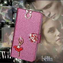 Luxury PU Leather Wallet Case For Microsoft Lumia 535 Flip Cover Shining Crystal Bling Case with Card Slot & Bling Diamond