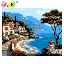 "DPF Frameless ""The Mediterranean"" Oil painting digital by numbers diy picture coloring on canvas Healthy pigments home decor"