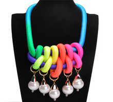 0USD  Min. Order free shipping 2014 new jewelry Fashion short necklace handmade cotton rope candy color knitted chain