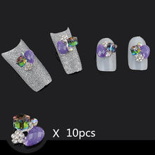 10pcs 3D Alloy Cube Jewelry Purple Glitter Rhinestone Nail Art Tips Decoration