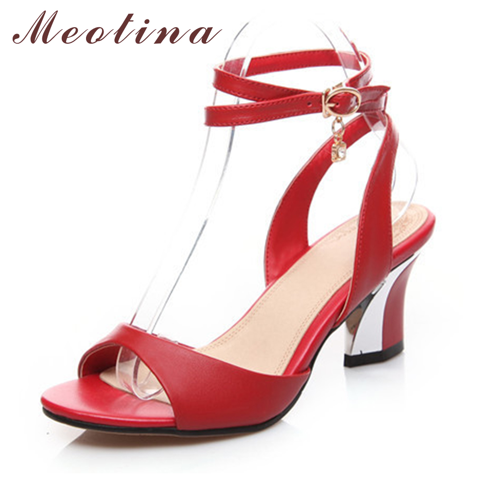 Meotina Genuine Leather Sandals Big Size 34-44 Ankle Strap Women Sandals Peep Toe Chunky Medium Heels Rhinestone Black Red White<br>