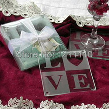 Factory Directly Selling Frosted LOVE Glass Coaster Gift Wedding Favor and Gift+150sets/LOT+FREE SHIPPING