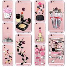 Popular Makeup tools colorful Lipsticks Painted Phone Case for iPhone 6 6S Ultra Thin TPU Girly beautiful Cosmetic Case Cover