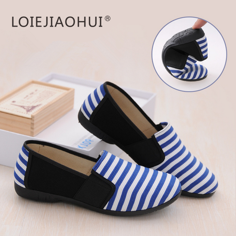 2017 New High Quality Fashion Womens Lazy Loafer Slip On Flats Black Blue Orange Stripe Casual Loaf Loafers Cloth Shoes<br><br>Aliexpress