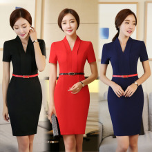 Formal OL Styles Ladies Office Work Wear Dress For Business Women Female Casual Vestido Dresses Tops Elegant Clothes With Belt