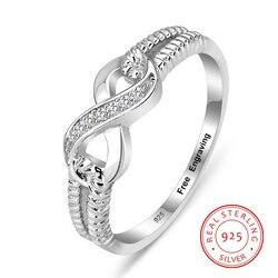 Персонализированное серебряное кольцо вечности 925 пробы женские гравировальные бесконечные кольца обручальные кольца для нее (RI103717)