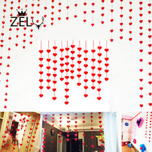 2 Sets Love Heart Garland with 3m Rope Charm DIY Curtain Felt Non-woven for Home Wedding Engagement Party Valentine Decoration