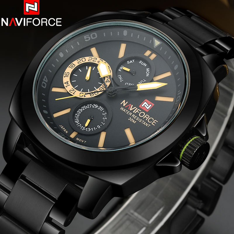 2017 New NAVIFORCE China Brand Luxury Watches Men 12/24 Auto Date Quartz Watch Week Month Black Yellow Full Steel Band Clock<br>