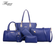FLOWER WIND 2017 Women's Cross-Body Handbag Weaving 6 Pieces Set One Shoulder Handbag Cross-Body Fashion Style Composite Bag(China)