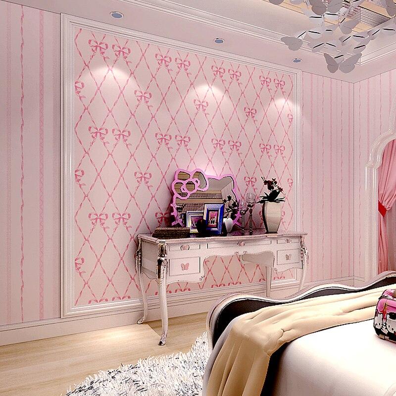 Bacaz 3d papel de parede 3d Pink bowknot Photo Wallpaper Rolls for Girls kids Room 3d Stripe Wall paper for walls<br>