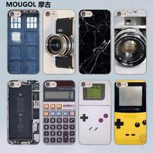MOUGOL Reminiscent Classic Camera Battery Calculator design transparent clear hard case cover for Apple iPhone 7 7Plus 6S 6 Plus