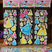 % 10 Sheets/lot 3D Cartoon Princess snow White  wall stickers Kids Toys Bubble stickers Teacher baby Gift Reward PVC Sticker