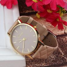 New watch women Checkers Faux lady dress watch, women's Casual Leather quartz-watch Analog wristwatch Gifts relogios feminino(China)
